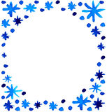 Watercolor beautiful blue snowflakes background Royalty Free Stock Photo