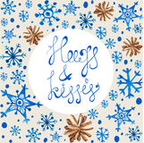 Watercolor beautiful blue snowflakes and cones Stock Photo