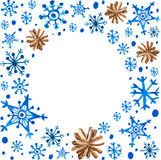 Watercolor beautiful blue snowflakes and cones Stock Image