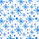Watercolor beautiful blue snowflakes Royalty Free Stock Photography