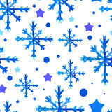 Watercolor beautiful blue snowflakes Stock Images
