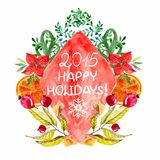 Watercolor beautiful Christmas card Royalty Free Stock Image