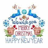 Watercolor beautiful Christmas card. Over white Stock Images