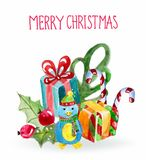 Watercolor beautiful Christmas card with penguin Royalty Free Stock Photos