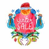 Watercolor beautiful Christmas card with snowman Royalty Free Stock Photo