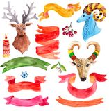 Watercolor beautiful Christmas collection Stock Image