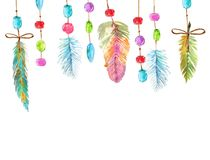 Watercolor beautiful dream catcher design. Hand painted composition over white background Stock Photos