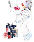 Watercolor beautiful face. woman portrait with lipstick. Watercolor beautiful face. woman portrait with lipstick in the hand. Essential makeup must-haves. Hand Stock Photos