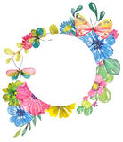 Watercolor beautiful floral design with butterflies Stock Image