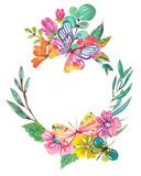Watercolor beautiful floral design with butterflies Royalty Free Stock Photo