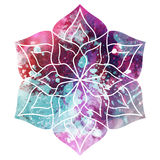 Watercolor Beautiful Flower Mandala. Background texture was made by kjpargeter: http://bit.ly/2qSu45f Stock Photography