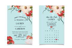 Watercolor beautiful flowers on mint background of modern wedding invitatoin Stock Photography