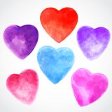 Watercolor beautiful hearts illustration Stock Photo