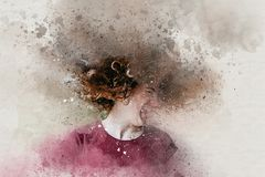 Watercolor of beautiful teen girl shaking head with curly hair stock photos