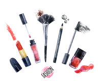 Watercolor beauty collection for make up. Fashionable design Stock Photos