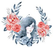 Watercolor beauty girl with dark hair and floral wreath, red and indigo peony flowers. Hand drawn illustration Stock Photo