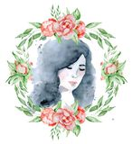 Watercolor beauty girl with dark hair and floral wreath, red and indigo peony flowers. Watercolor beauty girl with dark hair and floral wreath, red peony flowers Stock Image