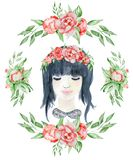 Watercolor beauty girl with dark hair and floral wreath, red and indigo peony flowers. Watercolor beauty girl with dark hair and floral wreath, red peony flowers Royalty Free Stock Images