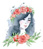 Watercolor beauty girl with dark hair and floral wreath, red and indigo peony flowers. Watercolor beauty girl with dark hair and floral wreath, red peony flowers Stock Photos