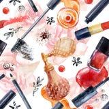Watercolor beauty seamless pattern. Fashionable design Royalty Free Stock Photo