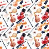 Watercolor beauty seamless pattern. Fashionable design Stock Image