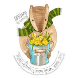 Watercolor beaver with a bucket full of flowers. Watercolor illustration. Beaver in sweater with a bucket full of flowers. Text about spring. Spring is coming Stock Photography