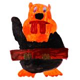 Watercolor beaver log cartoon drawing isolated on Royalty Free Stock Image