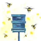 Watercolor beehive and bees Stock Photo