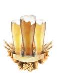 Watercolor beer design Royalty Free Stock Photo