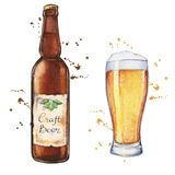 Watercolor beer glass and bottle Royalty Free Stock Photography