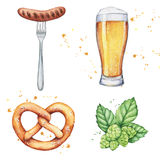 Watercolor beer glass and bottle Stock Photography