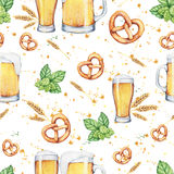 Watercolor beer glass and pint. Seamless pattern Stock Image