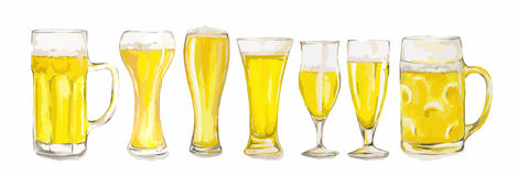 Watercolor beer glasses set. Watercolor beer glasses set on whte background. Isolated different kinds of beer glasses Stock Image
