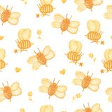 Watercolor bees on a white background. Natural seamless pattern with cute bee vector illustration
