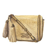 Watercolor beige bag with tassels. Hand drawn isolated fashion illustration on white background. Royalty Free Stock Image