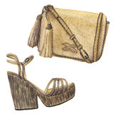 Watercolor beige bag with tassels and shoes with platform. Hand drawn isolated fashion illustration on white background. Royalty Free Stock Photography