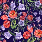 Watercolor bouquet poppy and bell flower. Floral seamless pattern. Violet background. Watercolor bell flower poppy background handiwork design floral leaf Royalty Free Stock Photography