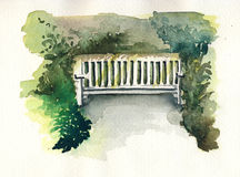 Watercolor bench. Watercolor of a white bench between shrubs in park Stock Image