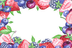 Watercolor berries horizontal frame Stock Photo