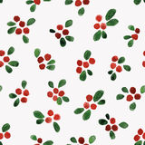 Watercolor berries - seamless pattern. Seamless pattern with freehand watercolor berries and leaves Royalty Free Stock Photography