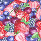 Watercolor berries seamless pattern Royalty Free Stock Photos
