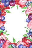 Watercolor berries vertical frame Stock Photo