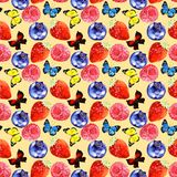Watercolor berry and butterfly illustration seamless pattern isolated on yellow background. Watercolor berry and butterfly illustration seamless pattern. fresh Stock Images