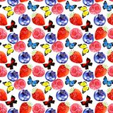 Watercolor  berry and butterfly illustration  seamless pattern isolated on white background. Watercolor  berry and butterfly illustration seamless pattern. fresh Royalty Free Stock Photo