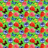 Watercolor berry and butterfly illustration seamless pattern isolated on green background. Watercolor  berry and butterfly illustration seamless pattern. fresh Royalty Free Stock Images