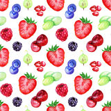 Watercolor berry mix seamless pattern texture background Stock Photo