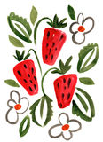Watercolor berry strawberry impression painting Royalty Free Stock Images