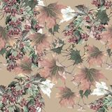 Watercolor berry viburnum and leaves maple on ochre background. Seamless pattern. Seamless pattern decorative plant leaves  background berry  graphic delicate stock illustration