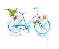 Watercolor bicycle with flowers. Over white Royalty Free Stock Image
