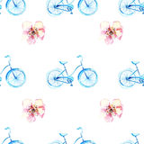 Watercolor bicycle with flowers Stock Images